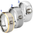 Tungsten Jedi 8MM Gold IP Silver Dome Step Edge Ring Full & Half Size