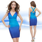 Ever Pretty Sexy V-neck Blue Sleeveless Mini Cocktail Club Party Dress 05065