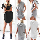 Lady Casual Loose Hoodies Hooded Short Sleeve Long T-Shirt Blouse Top Mini Dress