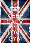 KC46 Vintage Style Union Jack Keep Calm Love Gym Funny Poster Print A2/A3/A4