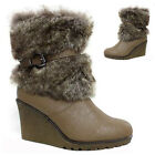 LADIES WEDGE HEELS WINTER BOOTS WOMEN ANKLE CALF BIKER FASHION DESERT SHOES SIZE