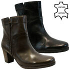LADIES WOMENS REAL LEATHER CHELSEA COWBOY BIKER ZIP ANKLE HEEL BOOTS SHOES SIZE