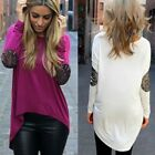 Fashion Women Casual Long Sleeve Crewneck Loose Blouse Sexy T Shirt Tops New