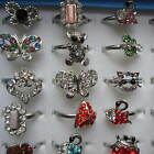 12 - 36 Rings & Free Display Box Silver Gold Plated Animal Butterfly Kitty Cute