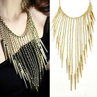 CHIC New Fashion Gothic Punk Spike Rivet Long Chain Tassel Necklace Charming