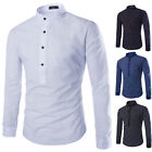 New Men's Fashion Slim Fit Long Sleeve O-Neck Button Casual Cotton Tops T-Shirt