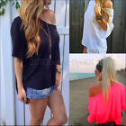 Women Sexy Cotton OFF-Shoulder Long Sleeve Casual T-Shirt Hot Loose Tops Blouse