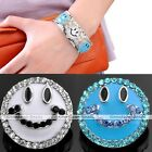 1pc Alloy Charms Smile Face Crystal Snap Button Fit Punk Bracelet DIY Gift