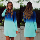 Womens Casual Party Long Sleeve Gradient Mini Dress Loose Dip Dye T shirt Blouse