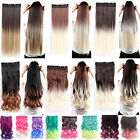 Real Thick Long Clip in Ombre Hair Extensions Straight Curly Wavy Brown Blonde M