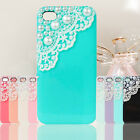 Cute Handwork Laces Pearls Hard Back Case Cover Skin For iPhone 4 4S