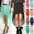 Women's Lady Girl Elastic Waist Chiffon Dress Long Asymmetric Skirt Short Skirt