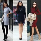 Women Sexy Collar Long Sleeve Bandage Ballgown Bodycon Cocktail Party Club Dress