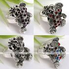 1x Silver Plated Crystal Lovely Bear Cocktail Party Adjustable Ring Jewelry Gift