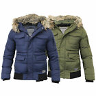 Mens Jacket Dissident Coat Padded Quilted Sherpa Fleece Hooded Fur Lined Winter
