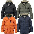 Mens Jacket Brave Soul Coat Padded Hooded Faux Fur Puffer Lined Casual Winter