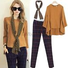 Hot Women Loose Sets Scarf  Grid Pants Trousers Long Sleeve Tops Suits Blouse