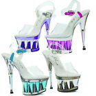 """Sandal w 6"""" Heel & Ankle Strap - Chrome Color Accent in Sizes 5-12 629-CLARITY"""