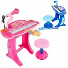 Kids Childrens Electronic 36 Key Keyboard Piano Toy Record With Microphone Stool