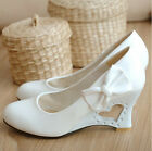 Plus Size Women's Wedge Leather Shoes Bow sweet Heart Heel Stilettos New Top E45