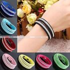 Slake Crystal Bracelet Suedu PU Leather Wrap Streamline Effect Bangle Necklace