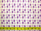 PRINCESS - PURPLE AND LILAC CROWNS ON WHITE 100% cotton patchwork fabric
