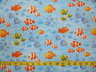 LITTLE MERMAIDS - FISH ON LIGHT BLUE 100% cotton patchwork fabric
