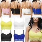 Womens Ladies Sexy Lace Strappy Eyelash Vest Bralet Bra Crop Top Party Cami Tank