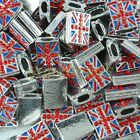 Wholesale Flat Crystal Czech Union Jack UK Nation Flag Spacer Charm Bead Loose