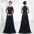 Women's Navy Blue Elegant Maxi Long Sleeve Prom Party Evening Formal Dress 08553