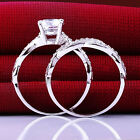 2X WOMEN LADY HOT VOGUE SILVER PLATED REHINESTONE BRIDAL WEDDING RING SET
