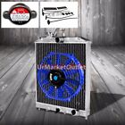"2-Row/Core High Capacity Radiator+10"" Blue Cool Fan For Civic/Del Sol/Integra MT"