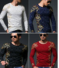 Men Long Sleeve Print T-shirts Cotton Tees Casual Slim Tops Blouses 31005