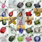 BPEM0299 MANY SIMPLY STYLES SILVER PLATED CUBIC ZIRCONIA CZ GEMSTONE PENDANT