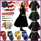 Hot! Harry Potter Cape Cosplay Costume Adult Gryffindor Robe Cloak&Tie LED Wand