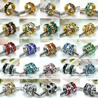 20x Rondelle Crystal Loose European Spacer Beads Fit Charm Bracelet Findings DIY