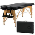 """New Massage Table Spa Bed 73"""" Long Portable 2 Folding W/ Carry Case Black"""