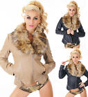 HOT Womens Wet Look Jacket Faux Fur Short Fitted Biker jacket Size 8,10,12,14