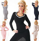 Sexy Womens Business Dress Knitting Long Jumper Dress Deep V-Neck 5 colours