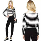 Women Casual Black White Stripe T-Shirt Long Sleeve Crew Neck Short Crop Top