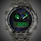 INFANTRY Mens Wrist Watch Aviator Military Digital Analog Combo Stainless Steel