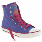 CONVERSE ALL STAR SHIN KIDS YOUTH PURPLE FABRIC HI TOPS TRAINERS