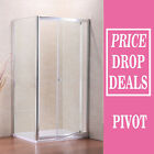 Walk In Pivot Shower Door Enclosure Glass Screen Cubicle Side Panel Stone Tray S