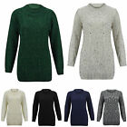 NEW LADIES CREW NECK CHUNKY KNIT CABLE FRONT LONG SLEEVE JUMPER DRESS ONESIZE