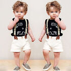 Baby Boys Black Short Sleeve T-shirt + White braces with pants fit 1-6Years