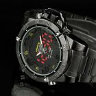 INFANTRY Mens Wrist Watch Fashion Black Steel Stainless Chronograph LED Light