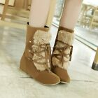 Fashion Womens Faux Furry Lace Up Warm Hidden Wedge Snow Mid Calf Boots Shoes