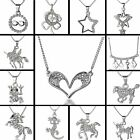 Fashion Women silver Love Animal Crystal pendent necklace Wedding Jewelry Gifts