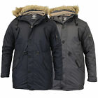 Mens Parka Jacket Soul Star Coat Padded Quilted Fish Tail Hooded Fur Sherpa New