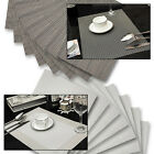8 Metallic Placemats Home Kitchen Dining Table Silver Bronze Woven Vinyl